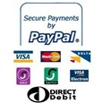 We Accept Payment via all major credit and debit cards, cheque and bank transfer